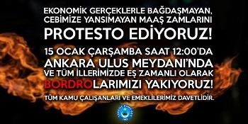 15 OCAK BORDRO YAKMA EYLEMİ BASIN AÇIKLAMASI-14.01.2020