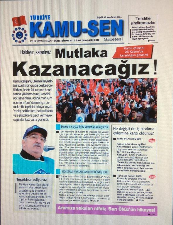 TÜRKİYE KAMU-SEN GAZETESİ 68. SAYISI