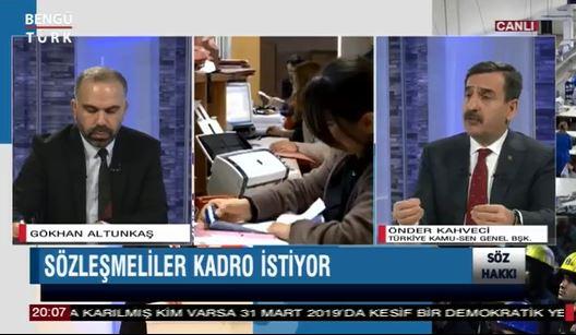 Genel Başkanımız Önder Kahveci Söz  Hakkı Programında çalışma hayatı ve ülke gündemine ilişkin değerlendirmelerde bulundu.
